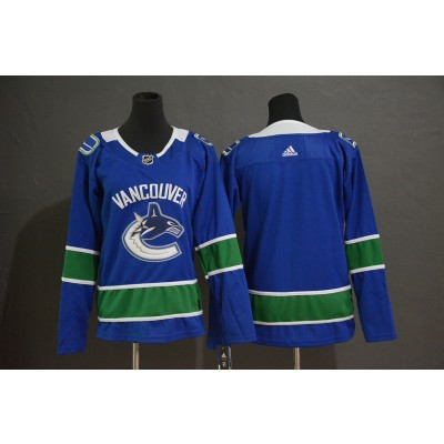 NHL Canucks Blank Blue Adidas Women Jersey