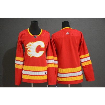 NHL Flames Blank Red Alternate Adidas Women Jersey