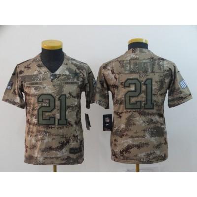 Nike Cowboys 21 Ezekiel Elliott 2018 Camo Salute To Service Limited Youth Jersey