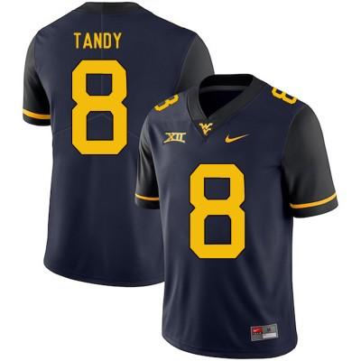 NCAA West Virginia Mountaineers 8 Keith Tandy Navy College Football Men Jersey