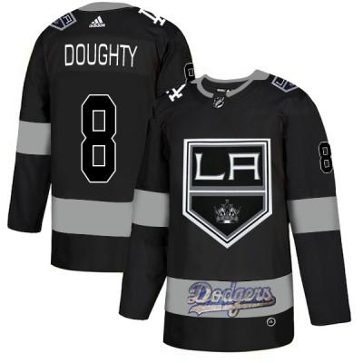NHL LA Kings With Dodgers 8 Drew Doughty Black Adidas Men Jersey