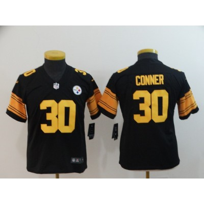 Nike Steelers 30 James Conner Black Color Rush Limited Youth Jersey