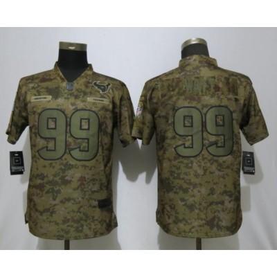 Nike Texans 99 J.J. Watt 2018 Camo Salute to Service Limited Women Jersey