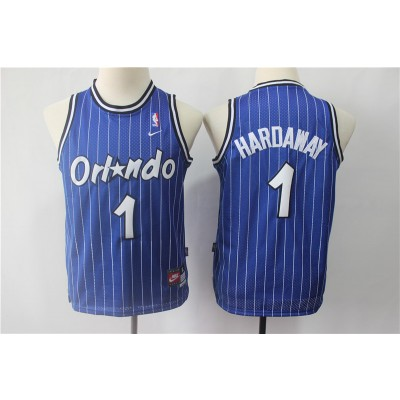 NBA Magic 1 Penny Hardaway Blue Nike Throwback Youth Jersey