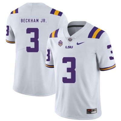 NCAA LSU Tigers 3 Odell Beckham Jr. White Nike College Football Men Jersey