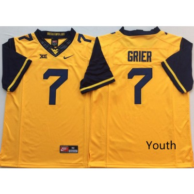 NCAA West Virginia Mountaineers 7 Will Grier Gold Football Youth Jersey