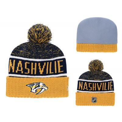 NHL Nashville Fresh Logo Orange Pom Knit Hat