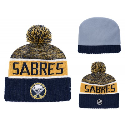 NHL Sabres Fresh Logo Navy Pom Knit Hat
