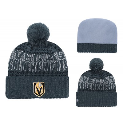 NHL Vegas Golden Knights Fresh Logo Gray Pom Knit Hat