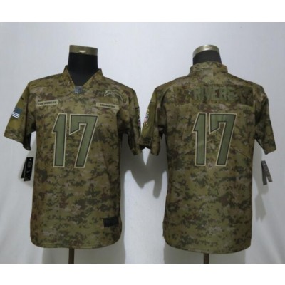 Nike Chargers 17 Philip Rivers 2018 Camo Salute to Service Limited Women Jersey