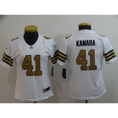 Nike Saints 41 Alvin Kamara White Color Rush Limited Women Jersey