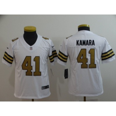 Nike Saints 41 Alvin Kamara White Color Rush Limited Youth Jersey