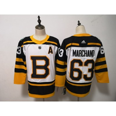 NHL Bruins 63 Brad Marchand White 2019 Winter Classic Adidas Men Jersey