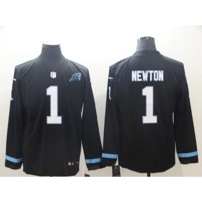 Nike Panthers 1 Cam Newton Black Therma Long Sleeve Men Jersey