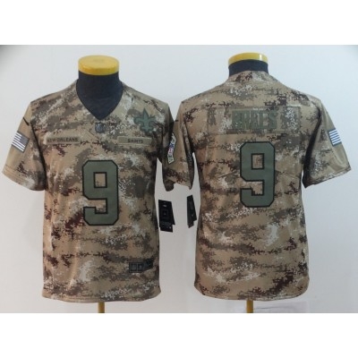 Nike Saints 9 Drew Brees 2018 Camo Salute To Service Limited Youth Jersey