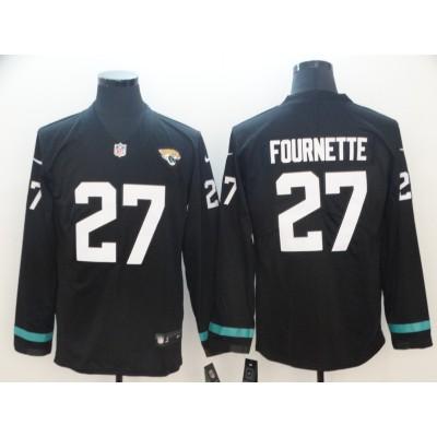 Nike Jaguars 27 Leonard Fournette Black Therma Long Sleeve Men Jersey