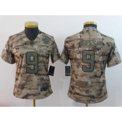 Nike Saints 9 Drew Brees 2018 Camo Salute To Service Limited Women Jersey