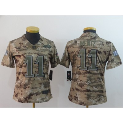 Nike Eagles 11 Carson Wentz 2018 Camo Salute To Service Limited Women Jersey