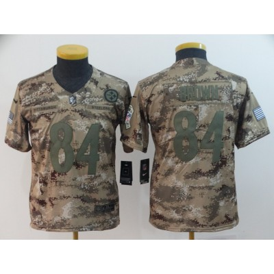 Nike Steelers 84 Antonio Brown 2018 Camo Salute to Service Limited Youth Jersey