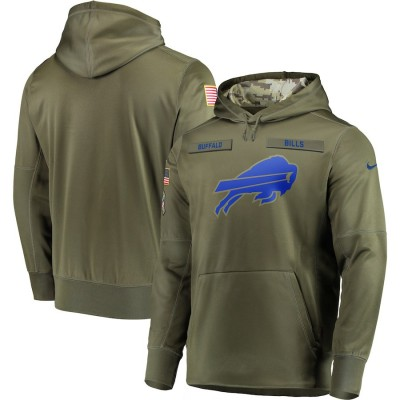 NFL Buffalo Bills Nike 2018 Salute to Service  Sideline Therma Performance Pullover Hoodie Olive