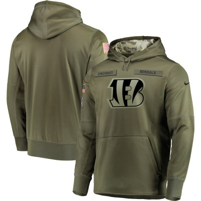 NFL Cincinnati Bengals Nike 2018 Salute to Service  Sideline Therma Performance Pullover Hoodie Olive