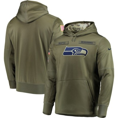 NFL Seattle Seahawks Nike 2018 Salute to Service Sideline Therma Performance Pullover Hoodie Olive