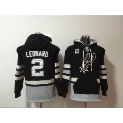 NBA Spurs 2 Kawhi Leonard Black Men Hooded Sweatshirt