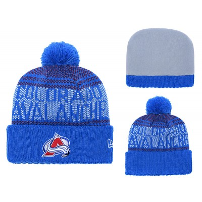 NHL Avalanche Fresh Logo Royal Pom Knit Hat YD
