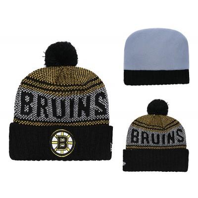 NHL Bruins Fresh Logo Black Pom Knit Hat YD