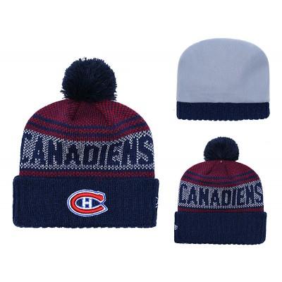NHL Canadiens Fresh Logo Navy Pom Knit Hat YD