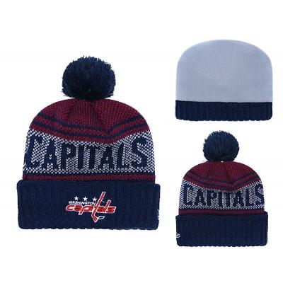 NHL Capitals Fresh Logo Navy Pom Knit Hat YD
