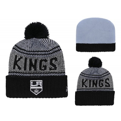NHL Kings Fresh Logo Black Pom Knit Hat YD