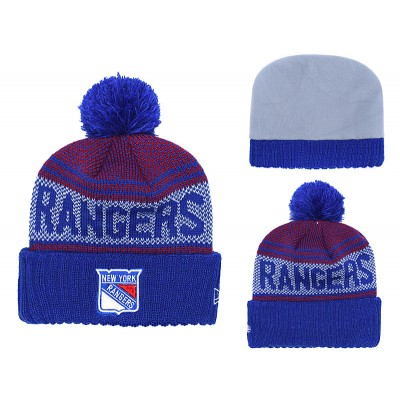 NHL Rangers Fresh Logo Blue Pom Knit Hat YD