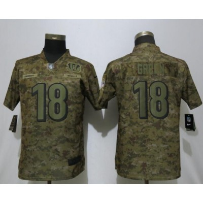 Nike Bengals 18 A.J. Green 2018 Camo Salute to Service Limited Women Jersey