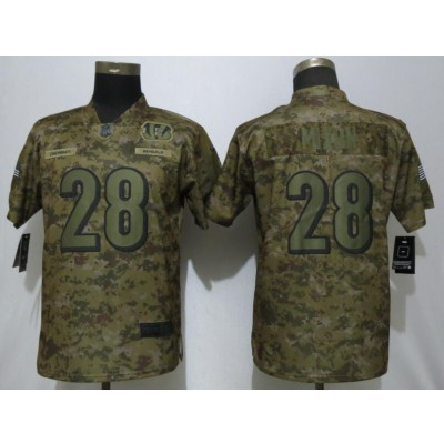 Nike Bengals 28 Joe Mixon 2018 Camo Salute to Service Limited Women Jersey