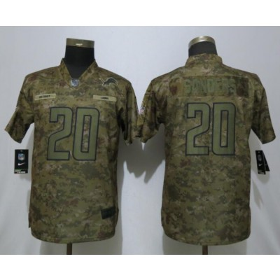 Nike Lions 20 Barry Sanders 2018 Camo Salute to Service Limited Women Jersey