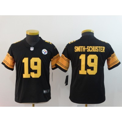 Nike Steelers 19 JuJu Smith-Schuster Black Color Rush Youth Jersey