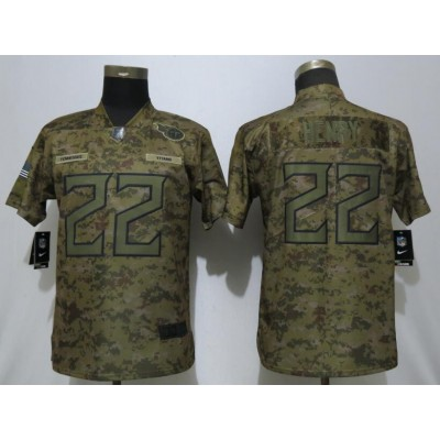 Nike Titans 22 Derrick Henry 2018 Camo Salute to Service Limited Women Jersey