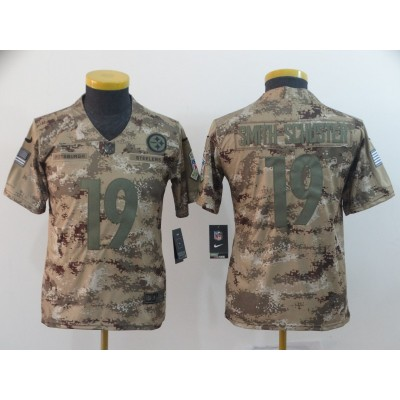 Nike Steelers 19 JuJu Smith-Schuster 2018 Camo Salute to Service Limited Youth Jersey