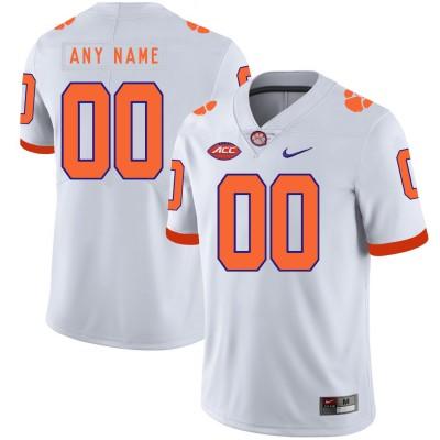 NCAA Clemson Tigers White Customized Nike College Football Men Jersey