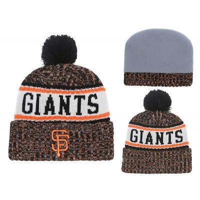 MLB Giants Team Logo Cuffed Knit Hat With Pom YD