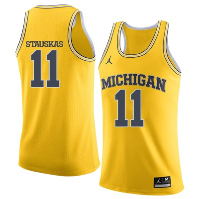 NCAA University of Michigan 11 Nik Stauskas Yellow College Basketball Men Jersey