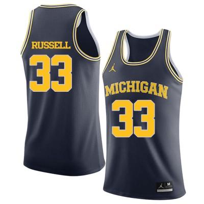 NCAA University of Michigan 33 Cazzie Russell Navy College Basketball Men Jersey
