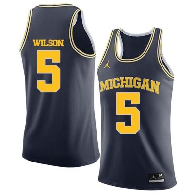 NCAA University of Michigan 5 D.J. Wilson Navy College Basketball Men Jersey
