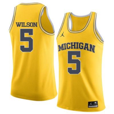 NCAA University of Michigan 5 D.J. Wilson Yellow College Basketball Men Jersey
