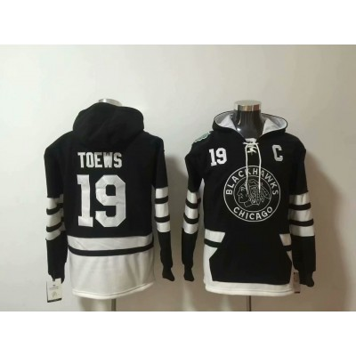 NHL Blackhawks 19 Jonathan Toews Black All Hooded Men Sweatshirt