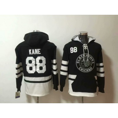 NHL Blackhawks 88 Patrick Kane Black All Hooded Men Sweatshirt