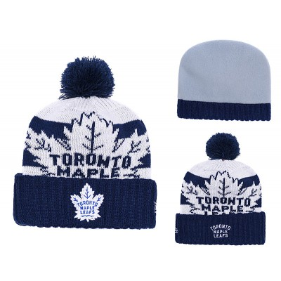 NHL Maple Leafs Fresh Logo Blue Pom Knit Hat YD