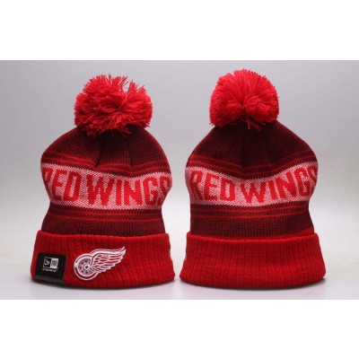 NHL Red Wings Fresh Logo Red Knit Hat With Pom YP