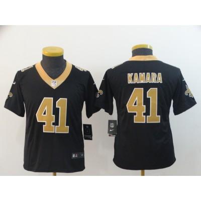 Nike Saints 41 Alvin Kamara Black Vapor Untouchable Limited Youth Jersey